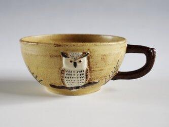 ミミズクレリーフスープカップ 白の画像
