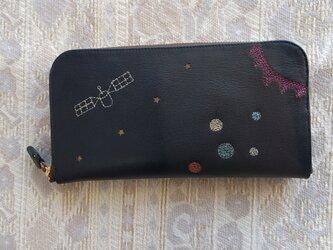 刺繍革財布『宇宙』濃紺×Colors(牛革)ラウンドファスナー型の画像