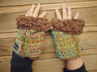 手織り キッズもこもこファー手袋の画像