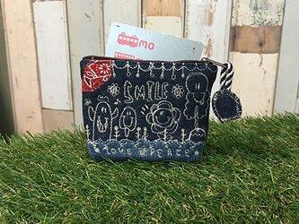 秋日和刺繍デニムコインカードケース(ポーチ)の画像