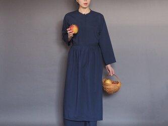 【受注制作】 トラディショナルアーミッシュドレス | ネイビー *柔らかシャツ生地*の画像