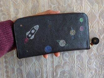 刺繍革財布『宇宙』パール濃グレー×Colors(シュリンクヤギ革)ラウンドファスナー型の画像