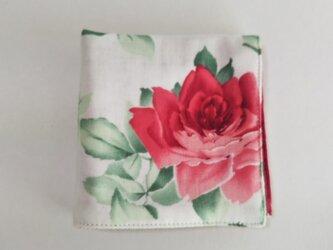 ガーゼのハンカチ 薔薇 レトロ 赤×赤 23cm角の画像