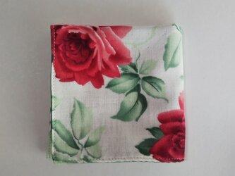ガーゼのハンカチ 薔薇 レトロ 赤×緑 23cm角の画像