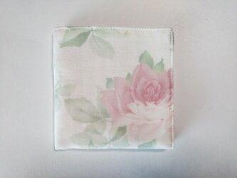 ガーゼのハンカチ 薔薇 レトロ ピンク×ピンク 23cm角の画像