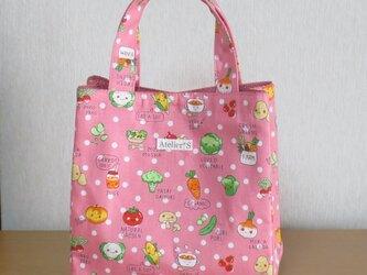 ミニスクエアトートバッグ★野菜柄(ピンク)の画像