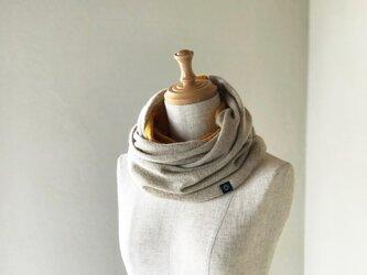 温度を纏う 純カシミヤのふわふわリバーシブルねじりスヌード Beige/Musterdの画像