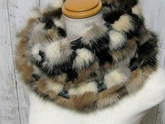 ¶ new antique fur ¶ ミックスカラーミンク/レザーnejiriスヌード「mimix」の画像