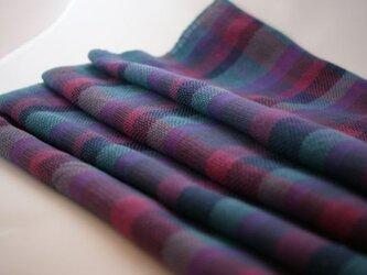 手織り コットン・ストール(水色)の画像