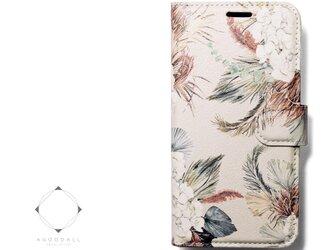 【両面デザイン】 iphoneケース 手帳型 レザーカバー(花柄)モダンフラワー ボタニカル11/11pro ウサギとリスの画像