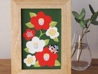 額(12×16cm)入イラスト【和な雰囲気の椿】の画像