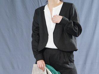 【wafu】中厚 リネン カーディガン カフスシャツ袖 Vネック ボレロ ジャケット 長袖/ブラック h001c-bck2の画像