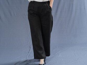 【wafu】中厚 リネン パンツ スリータック 後ろゴム ストレート リネンパンツ/ブラック b010e-bck2の画像