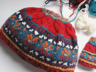 編み込みニット帽の画像