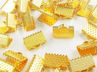 送料無料 ワニグチ 金具 50個 リボン 留め 紐 留め 10mm ゴールド ワニカン (AP0556)の画像