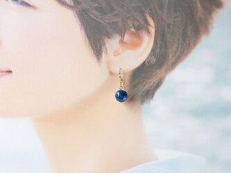 藍染コットンボールピアス 小の画像