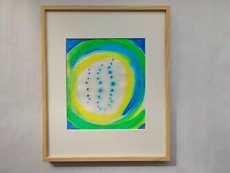 絵画 インテリア 水彩画 額絵 水彩と色墨のコラボ画 夢の中 ゆらぎ Gの画像