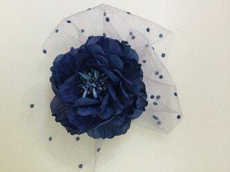 再販ブルーチュウールレース薔薇の画像
