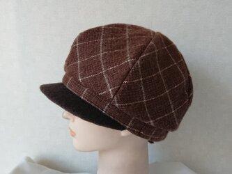 魅せる帽子☆軽くてあったか♪モヘアウールのふわもこキャスケット~ブラウンの画像