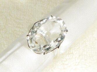 12.25ctヒマラヤ水晶とSV925の指輪(リングサイズ10号、ロジウムの厚メッキ、クォーツ、4月の誕生石)の画像