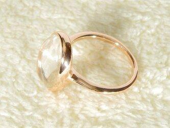 s様オーダー品_約13×9mmヒマラヤ水晶とSV925の指輪(ピンクゴールドの厚メッキ、ふくりん、クォーツ)の画像