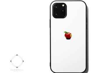 【曲げても落としても割れないガラス】 iphoneケースカバー(ホワイト×ブラック)赤リンゴ 耐衝撃 13/12/11mini~の画像