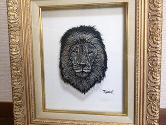 切り絵・ライオンの画像
