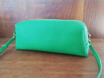 限定色⚫3way長財布ポシェット、シュリンクレザー×リバティ...グリーンの画像