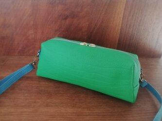 限定色⚫【幅広ショルダー】3way長財布ポシェット、シュリンクレザー×リバティ...グリーン×水色の画像