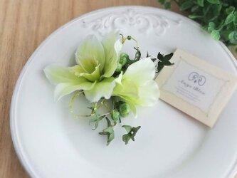 ユーチャリスのコサージュ&ヘッドドレス 2way☆*:.ホワイト eucharis dendrobum corsageの画像