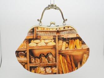 気持ち華やぐ☆がま口バッグ(口金21センチ)パン柄の画像