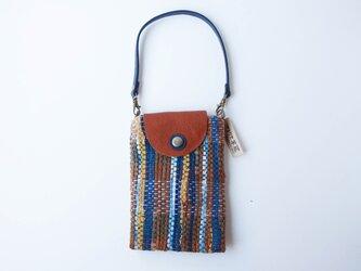 染め織りポーチ (藍・土顔料)の画像