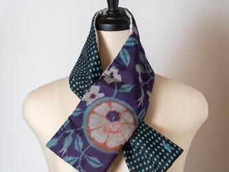 銘仙×コットン刺繍の小さな襟巻き293 ストール ネックウォーマー プチマフラー リバーシブル 着物リメイクの画像