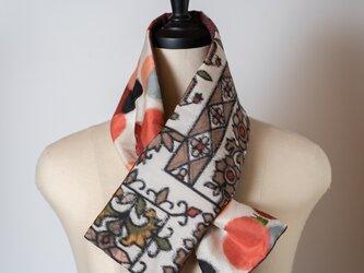 銘仙×コットン刺繍の小さな襟巻き299 ストール ネックウォーマー プチマフラー リバーシブル 着物リメイクの画像