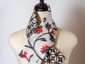 銘仙×リネン刺繍の小さな襟巻き308 ストール ネックウォーマー プチマフラー リバーシブル 着物リメイクの画像