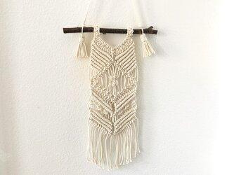 裏も使えるマクラメ編みタペストリー~栗の枝とコットン生成り糸(#40)で♪の画像