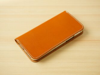 牛革 iPhone 11 Pro Max カバー  ヌメ革  レザーケース  手帳型  キャメルカラーの画像