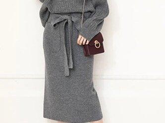 【受注製作】カシミアセット・トップス+スカート ニット オーダーメイド 豊富な色 H089の画像