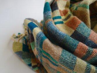 手織りカシミアストール・・森への画像