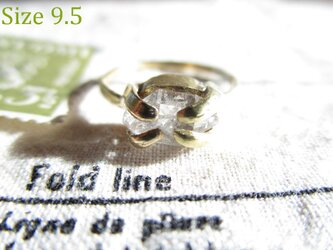 真鍮 ハーキマーダイヤモンド 中 リングの画像