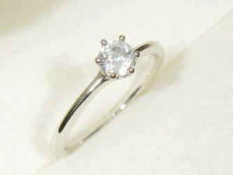 0.47ct ホワイト・ジルコンとSV925の指輪(リングサイズ:9号、ロジウムの厚メッキ、6本爪)の画像