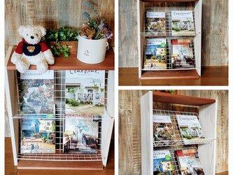 マガジンラック・ブックシェルフ  白×チーク(受注生産)の画像