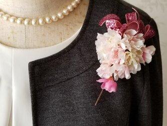 桜のコサージュ キラキラリボン♪(卒園式 入学式)の画像