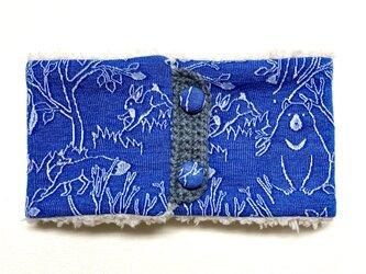 【即納可能】[ボタンタイプ]キッズ〜ジュニア用☆森のどうぶつたち柄(ブルー)+ふわふわプードルファーのネックウォーマーの画像