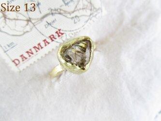【再販】真鍮 ルチルクウォーツ 原石 リングの画像
