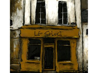 風景画 パリ 油絵「街の小さな洋品店」の画像