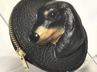 ミニチュアダックスフンドの本革コインケース(黒)の画像