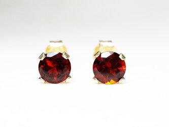 【1月誕生石】上品な2粒。ガーネットのピアス [送料無料]の画像