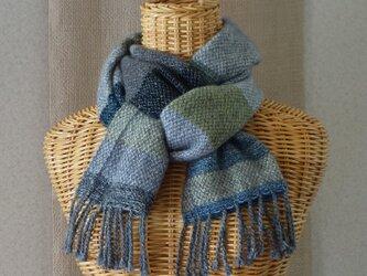 手織りカシミアマフラー・・よこしましま(スモーキーグレー)の画像