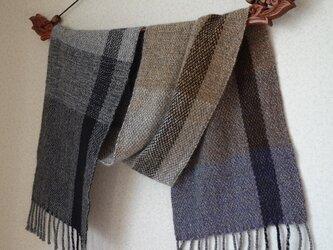手織りカシミアマフラー・・ワンストライプ+よこしましまの画像